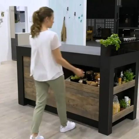 Such a great space saving and useful design This amazing kitchens design can help you get your house goals, unique home design, cool design. i love multi-functional kitchen especially when it have such an amazing island.