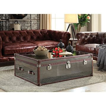 Trunk Design Leatherette Trim Wooden Coffee Table With 2 Drawers