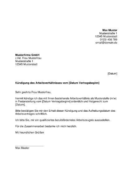 Kundigung Arbeitsvertrag Vorlage Infos Furs 11