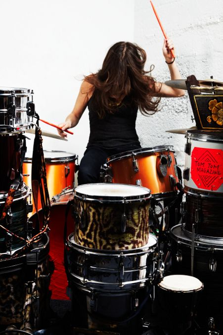 Very Sexy Woman Playing Drums Stock Photo