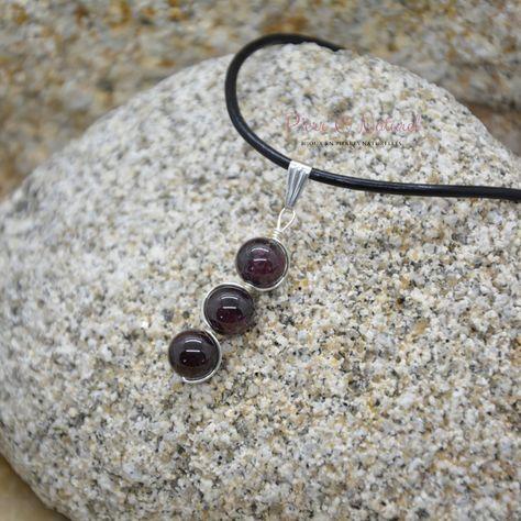 Pendentif Triple Perles Grenat - Pendentif