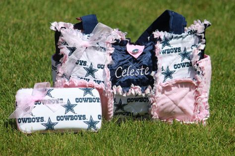 Custom Made Modern Chic Rag Quilted Diaper Bag with Dallas Cowboy and Pink. $70.00, via Etsy.