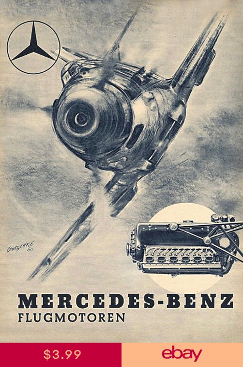 GERMAN WWII Mercedes-Benz advertising poster for engines of Messerschmidt planes of Luftwaffe, Germany before