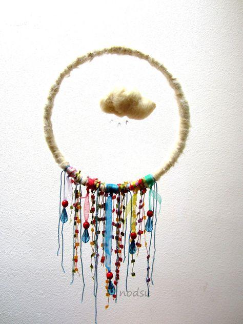 Rainbow hanging mobile, wall hanging, rain cloud, colorful nursery decor, yarn wrapped wreath, upcycled