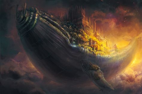 Whale fish city flying in the sky art castle steampunk fantasy wallpaper   1920x1285   202145   WallpaperUP