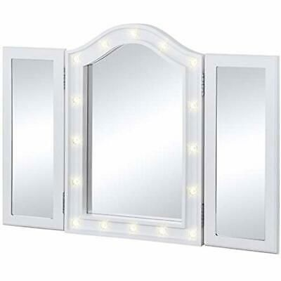 Details About Lighted Tabletop Tri Fold Vanity Mirror W Led Lights Beauty In 2020 With Images Mirror Decor Vanity Table Set Vanity Mirror