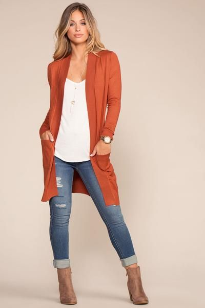 Stay cozy and cute with the Kokette Rust Cardigan Sweater! A perfectly oversized, open front bodice and long sleeves with pockets are shaped by soft knit. Cute, ribbed hems add a trendy detail at either side of this tunic length cardigan. Casual Work Outfits, Mode Outfits, Fashion Outfits, Womens Fashion, Teen Fashion, Jeans Outfit For Work, Fashion Boots, Fall Winter Outfits, Autumn Winter Fashion