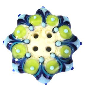 Handmade Lampwork Button 4 Hole Blues Green and by RiversEdgeGlass on etsy.