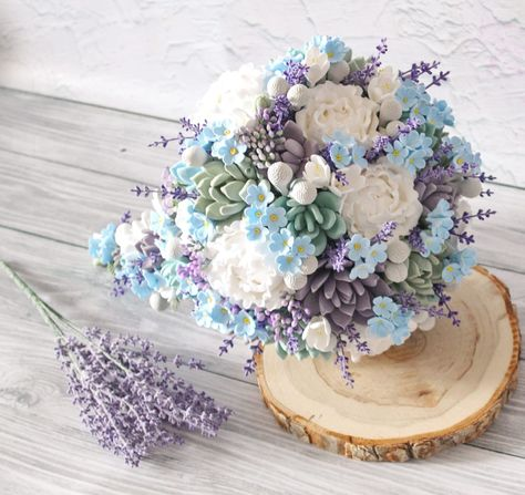 Cascading Bridal bouquet by LoveClayFlowers. Rustic wedding accessories and bridal bouquets from clay succulents. Mint blue forget me not bouquet, Teardrop wedding bouquet, mint succulent wedding bouquet with lavender. Every item in my shop is handmade. Items can not be 100% identical but all my bouquets are beautiful #chicwedding #weddingaccessories