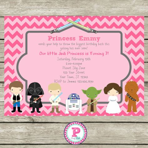 Star Wars Pink Chevron Party Invitation For A Girly Star Wars