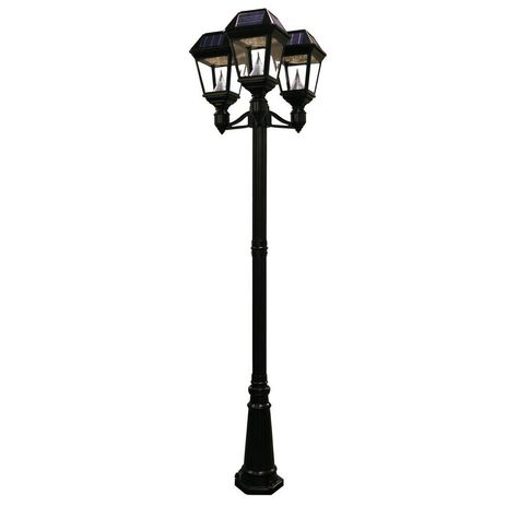 Imperial Ii 3 Head Solar Black Outdoor Integrated Led Lamp Post With 21 Bright White Leds Per