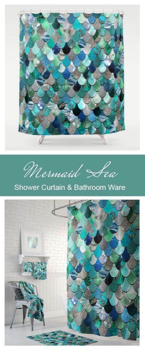 Mermaid Scale Print Waterproof Bathroom Shower Curtain Lake Blue