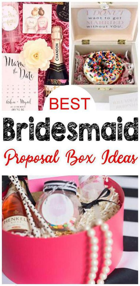 Bridesmaid Proposal Box Ideas! Find the best bridesmaid proposal gift ideas! From DIY ideas to to card ideas to kits to affordable to cheap to inexpensive you can find creative, unique, simple, easy & fun bridesmaid proposals. Great gifts for your feature bridal party - can be used as maid of honor proposals, junior bridesmaids and flower girl proposals too. Give at your engagement party or get together with your bride tribe.  2 is my favorite :) #willyoubemybridesmaid #bridesmaidproposal