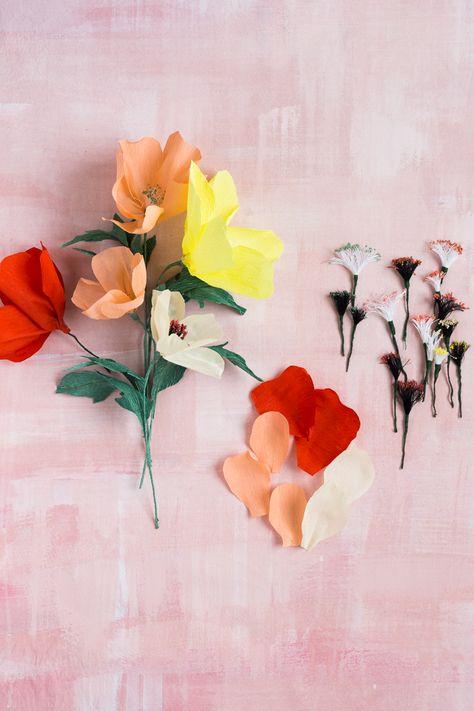 Blumen Aus Papier Basteln Anleitung Fur Mohnblumen In 2020 Papierblumen Basteln Basteln Mit Papier Blumen Aus Krepppapier