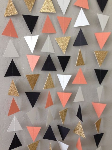 ***SPECIAL PRICING: $10 each when you order 4 or more garlands*** This listing is for geometric triangle garland made from cardstock in coral, gold glitter, white and black. The garland is carefully hand-made and machine-sewn together with thread, measuring about 10ft long, with