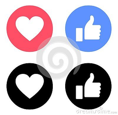 Download Facebook like and love icons color Vector emoji