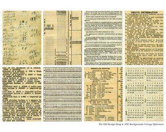 Vintage Postcard Backs with Handwriting ATC Size Printable