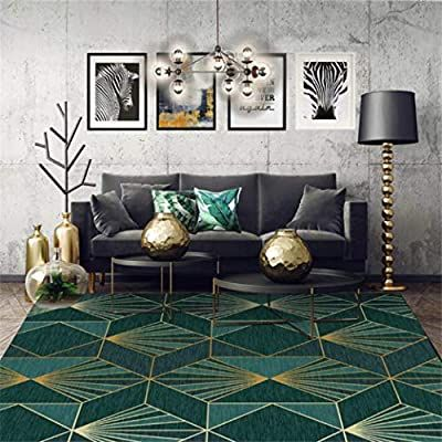 European Dark Green Gold Geometric Carpet Area Rugs For Bedroom Living Room Nordic Home Decoration Amaz Living Room Green Gold Living Room Rugs In Living Room