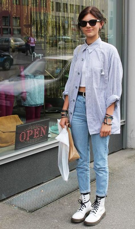 Layer a white tee underneath and style with jeans and Dr. Martens.