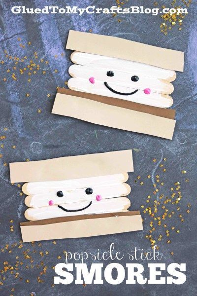 Stick Smores S'mores without the campfire! This popsicle stick craft is super cute and easy for the kids to make this summer.S'mores without the campfire! This popsicle stick craft is super cute and easy for the kids to make this summer. Daycare Crafts, Classroom Crafts, Toddler Crafts, Classroom Camping Theme, Camping Bulletin Boards, School Age Crafts, Preschooler Crafts, Summer Crafts For Kids, Projects For Kids