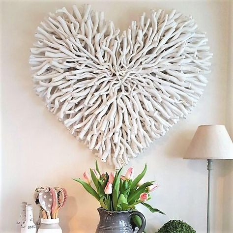 Large White Wood Chunky Twig Heart Pre Order For Mid September West Barn Interiors Heart Wall Decor Barn Interior Twig Art