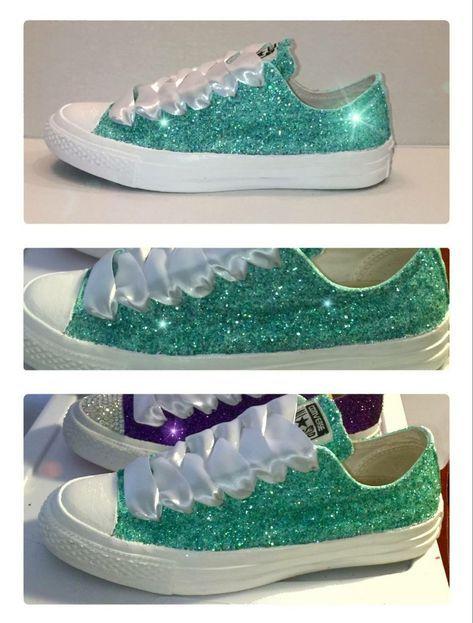 Women's Sparkly Green Glitter Converse