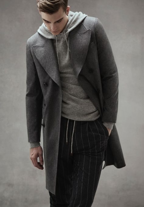 Coat and knit hoodie E. Tautz + trousers Brunello...