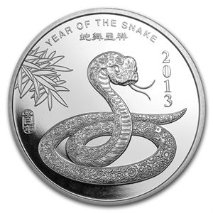 1 Oz Silver Round Apmex 2013 Year Of The Snake Silver Bullion Buy Silver Online Silver Coins