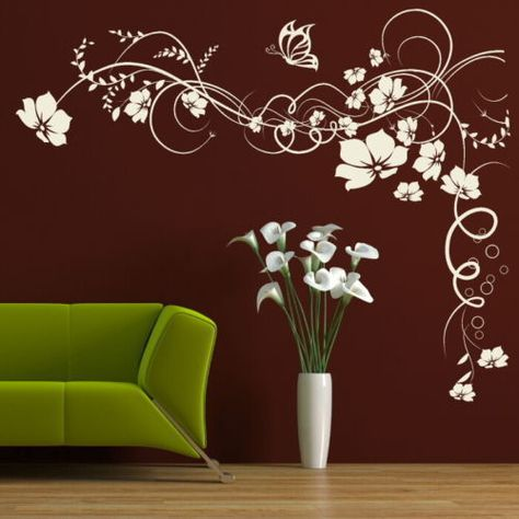 Wall Decals & Stickers Corner Flower Wall Sticker Interior Home Floral Transfers Vinyl Decal Decor & Garden Simple Wall Paintings, Diy Wall Painting, Flower Wall Stickers, Wall Stickers Home Decor, Asian Paint Design, Textures Murales, Wall Transfers, Office Wall Decals, Creative Wall Decor