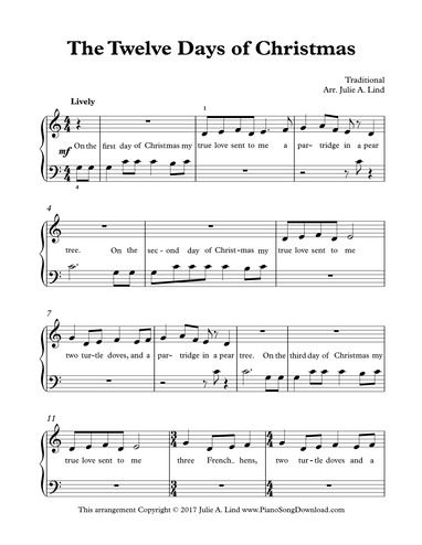 The Twelve Days Of Christmas Easy Beginner Sheet Music With