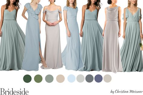 Sage, Blue and Neutral Mix and Match Bridesmaid Dresses. Join the (bridal) party. - Sage, Blue and Neutral Mix and Match Bridesmaid Dresses. Join the (bridal) party at www.