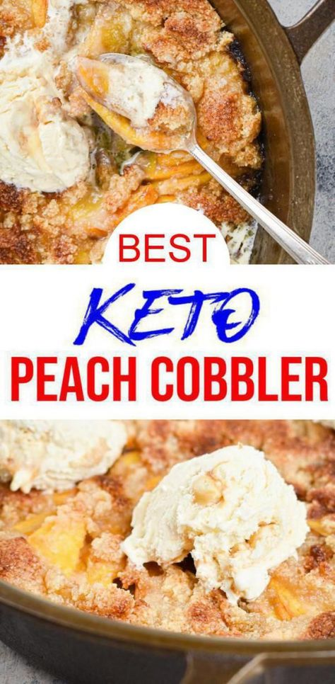 Check out this keto peach cobbler! Easy & simple low carb recipe for the BEST keto peach cobble. Try this for a yummy keto dessert keto snack or sweet treat. Great for keto Halloween desserts Keto Thanksgiving desserts or keto Christmas desserts. Check it out today #peach #lowcarb #easyrecipe #paleobreakfast