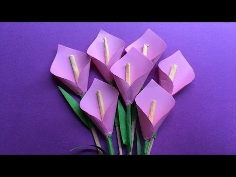 2 How To Make A Beautiful Calla Lily Paper Flower Origami Lily Flower Step By Step Diy Lily Flower Youtube Origami Lily Paper Flowers Origami Flowers