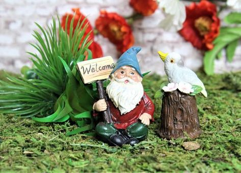 Miniature Fairy Garden Gnomes Sitting And Holding Welcome Sign Mini Garden Decoration Kit Supplies Miniature Fairy Gardens Gnome Garden Miniatures