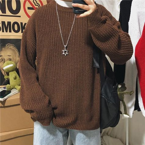 Winter Sweater Men's Warm Fashion Retro Casual Knitted Pullover Men Wild Loose Korean Knitting Sweaters Mens Clothes M-2XL - Red / L