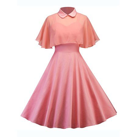 Vintage Dresses Retro Women Housewife Swing Party Rockabilly Dress With Sheer Mesh Cape Pin Up Dresses, Dress Outfits, Fashion Dresses, Prom Dresses, Dresses Online, Cheap Dresses, School Dresses, Affordable Dresses, Simple Dresses