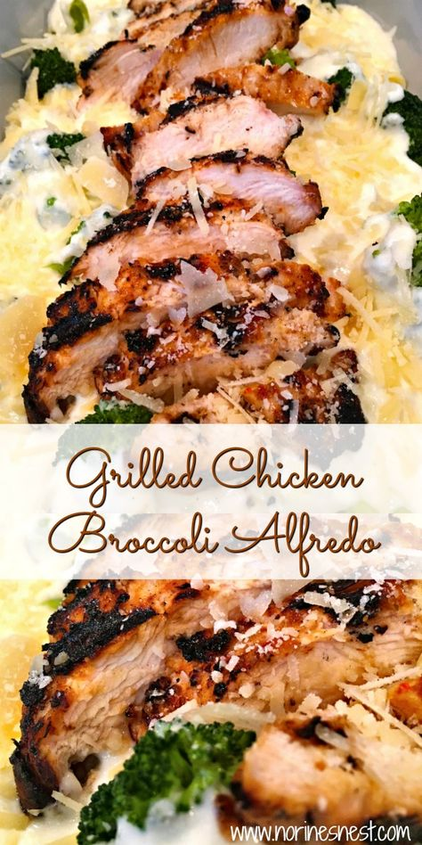 Easy Creamy Alfredo sauce over Fettuccine noodles, tender fresh broccoli, and grilled chicken breast come together in this amazing Grilled Chicken Broccoli Alfredo! A family favorite for years dinner pasta Grilled Chicken Broccoli Alfredo Fettuccine Alfredo, Alfredo Sauce, Fettuccine Noodles, Chicken Fettuccine, Alfredo Recipe, Chicken Broccoli Alfredo, Grilled Chicken Alfredo, Cheesy Chicken, Cooking Recipes