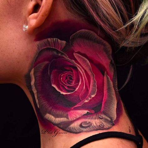 a496cbb275fb4 15 Beautiful Rose Neck Tattoos | tattoo | Тату, Татуировки, Розы
