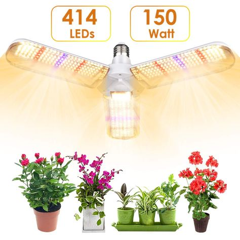 Lvjing 150w Led Grow Light Bulb With 414 Led S Foldable Sunlike Full Spectrum Grow Lights For Indoor Plants Vegetables Greenhouse Hydroponic Growing Grow Lamp In 2020 Grow Light Bulbs Led Grow
