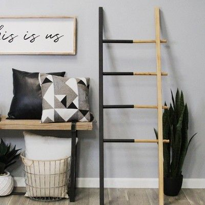 Wood And Metal Decorative Ladder Black Stratton Home Decor In 2020 Stratton Home Decor Ladder Decor Home Decor