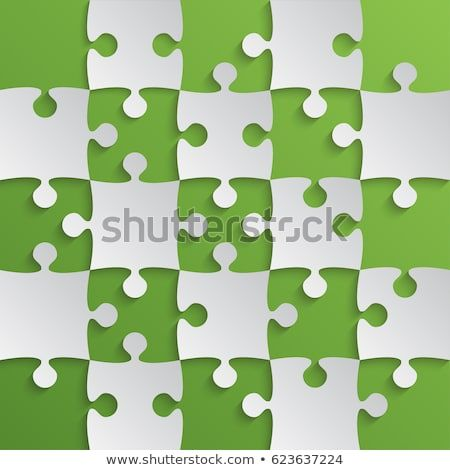 25 Grey Green Pieces Background Puzzle Jigsaw Banner Vector