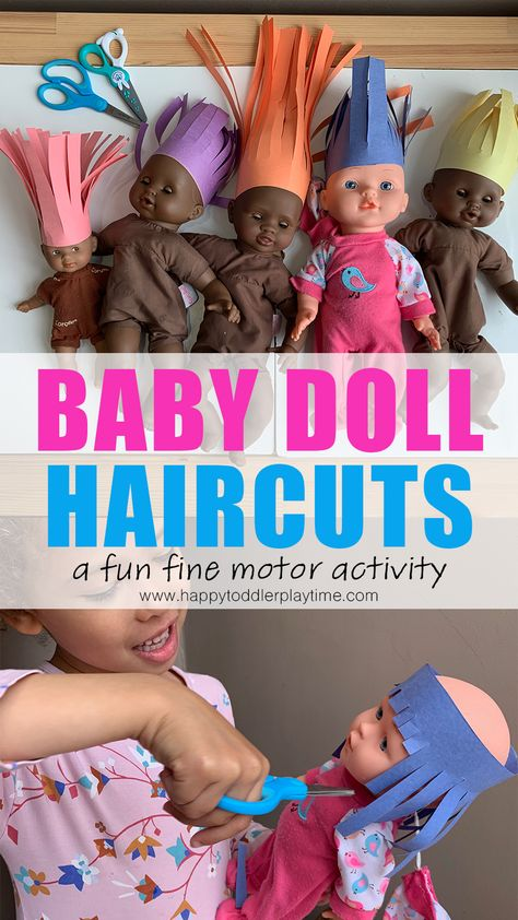 Baby Doll Haircuts is an adorable and super easy to create fine motor scissor skills activity for preschoolers and kindergartners! Toddler Fine Motor Activities, Motor Skills Activities, Preschool Learning Activities, Infant Activities, Classroom Activities, Preschool Activities, Family Activities, Preschool Family Theme, Activities To Do With Toddlers