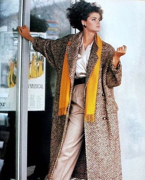 Vogue UK August 1984 Loose herringbone coat by Paul Costelloe Photo Eric Boman