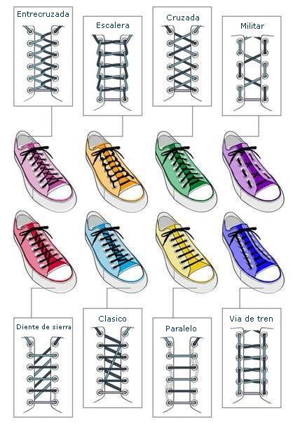 97584accea3612 Resultado de imagen de formas de colocar cordones de zapatillas ...