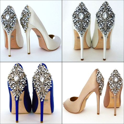 Badgley Mischka Wedding Shoes.  The most coveted style for brides:  Kiara.  Bridal shoes colors:  ivory, white, sapphire