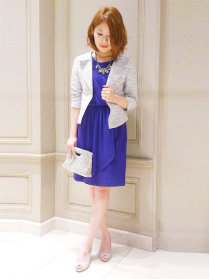 091a6f4fd85ca 青のお呼ばれドレスにキレイめのジャケットを羽織って大人可愛く着こなしたい♡結婚式 ジャケットのおしゃれコーデ一覧♡