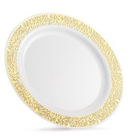 Exquisite 60 Pcs Ivory Gold Plastic Disposable Dinnerware Set Combo Wedding Party 30 Plastic Dinner Plates And 30 Dessert Plates Walmart Com Wedding Catering Wedding Appetizers Plates