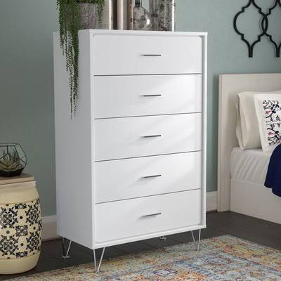 White Campaign Dresser Chest Of Drawers Drawers 5 Drawer Chest