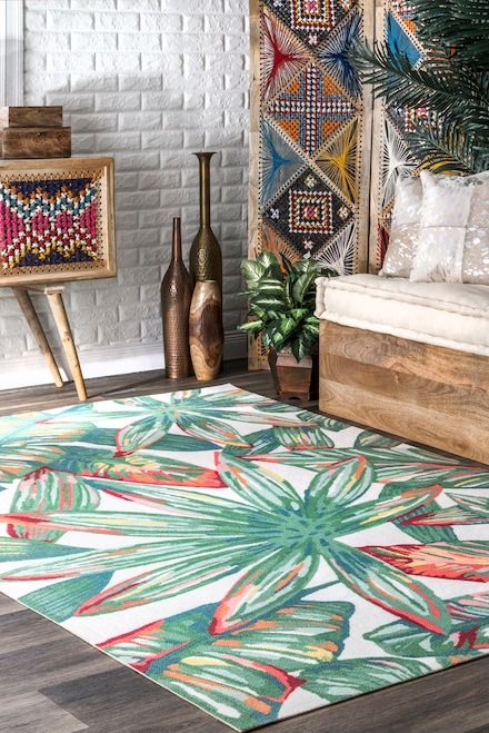Rugs Usa Multi Leilani Palmetto Paradise Indoor Outdoor Rug