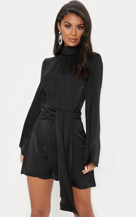 b150171d2a Black Hammered Satin High Neck Drape Bodycon Dress